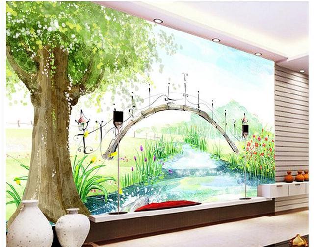 Benutzerdefinierte Wandbild 3d Vliestapete Hand Malerei Aquarell