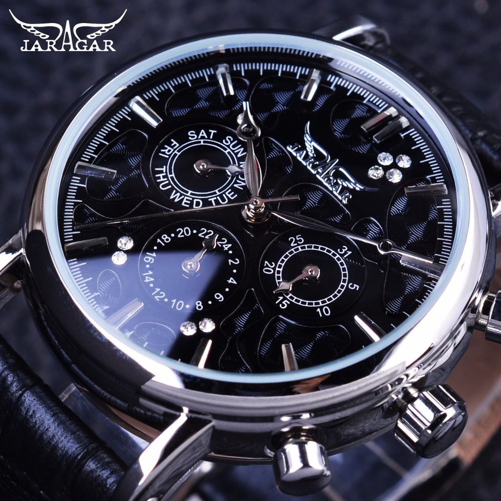 Jaragar 3 Dial Ripple Design Genuine Leather Fashion Casual Silver Case Mens Watches Top Brand Luxury Automatic Mechanical Watch jaragar navigator fashion series calendar display 3 dial 6 hands watches genuine leather strap men luxury brand automatic watch