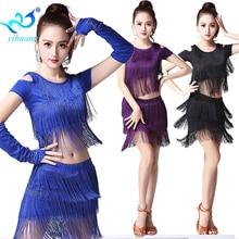 Gadis Latin Dance Costume Suit Ballroom Penari Prestasi Set Salsa Pakaian Dancewear 3pcs dengan Sarung Tangan Samba Pertandingan