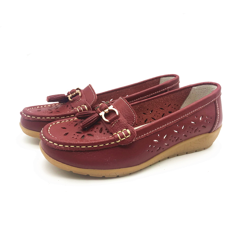 a7492cea9c9 ... DONGNANFENG Women Casual Mother Ladies Female Flats Shoes Hollow 2018  Loafers Cow Genuine Leather Summer Pigskin 35-41 JTS-5989. -47%. Click to  enlarge