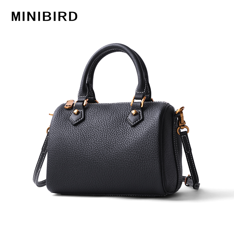 Lady Mini Boston Cowskin Genuine Leather Handbags Girls Hight Quality Fashion Crossbody Bag Women Pillow Tote Strap Shoulder Bag woman in the summer of 2016 youth popular color patent leather crocodile pillow boston crossbody bag business mini pochette