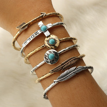 Leaf Cross Arrow Charm Bracelet Vintage Cuff Bracelet Bangle for Women Antique Silver Gold Women's Bracelets Accessories 2019 trendy rhinestone arrow shape cuff bracelet for women