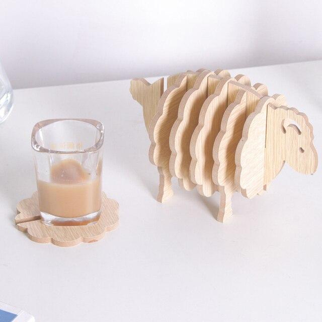 Sheep Forma MDF Coasters Copo Esteiras Esteira Do Copo Mesa de Café Artesanal DIY Criativo Coloque Tapetes Animal Ornamentos Presente material de Escritório