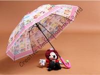 Children umbrella,cartoon design,auto open.8mm steel shaft and fluted ribs,safe&enviroment kid EVA umbrellas,non-toxi