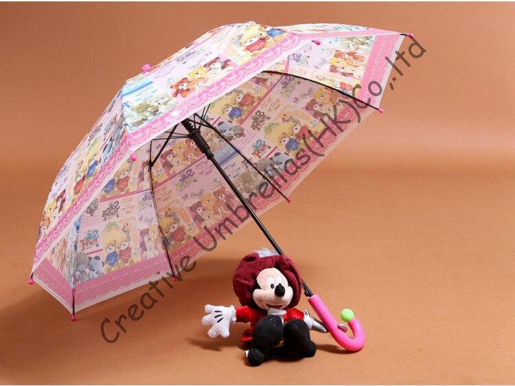 Parapluie enfants, dessin animé, auto open.8mm arbre en acier et nervures cannelées, sûr et environnement enfant EVA parapluies, non toxique