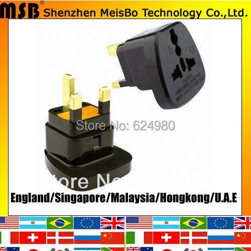 Universal UK travel 13A 250V ABS Singapore converter HK Fused uk adapter plug 500pcs free shipping