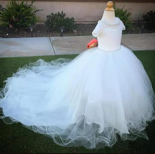 White Lace Pearls Crystals Backless Flower Girl Dresses with Bow Child Pageant Dresses Size 2-16Y Free Shipping