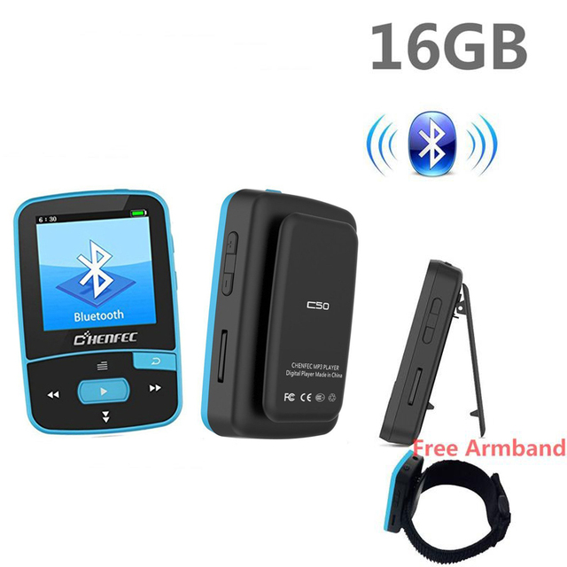 Bluetooth MP4 Player 16GB Clip Sport Sweatproof Lossless Audio Player with FM Radio pedometer and Bookmark,Maximum Support 64GB