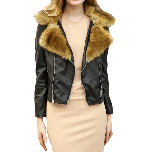 Women Faux Leather Coat Slim Fit Faux Leather Material Faux Fur  Luxurious PU Jacket Suitable For Spring Autumn And Winter