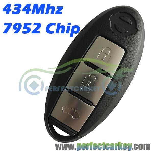 Prix pour 434 Mhz 3 bouton 434 Mhz 7952 électrique puce carte à puce keyless go smart key Pour Nissan BLUEBIRD NOUVEAU 2015 2016