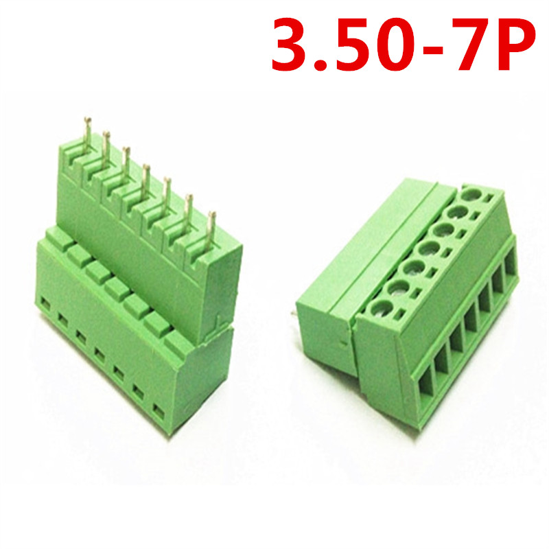 10sets 7 Pin/Way 15EDG-3.5mm Pitch 300V 10A Straight Plug-in Type Universal Screw Green Terminal Connector pin header and socket