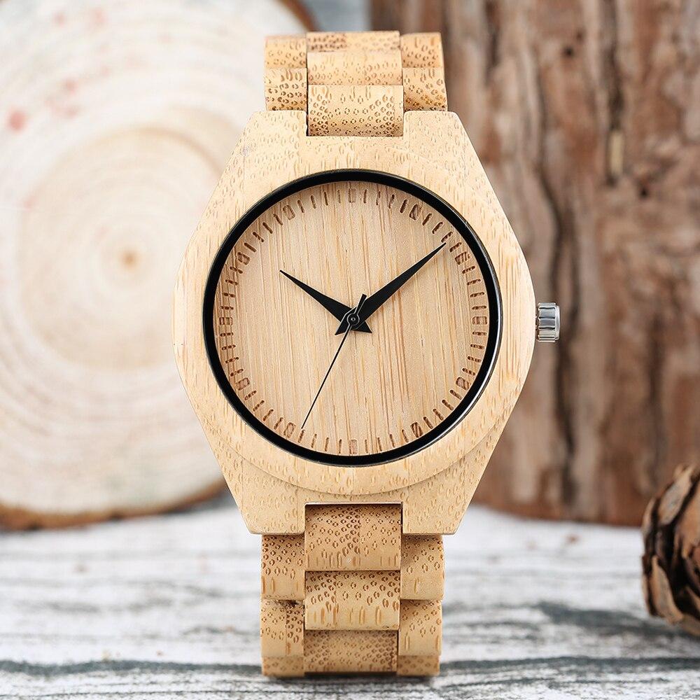Creative מלא עץ Mens שעונים טבעי עץ קוורץ - שעונים גברים