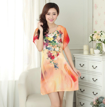Hot Sale Orange Chinese Female Home Dress Cotton Soft Mini Sleepshirt Nightgown Classy Printed Flower Sleepwear One Size A14