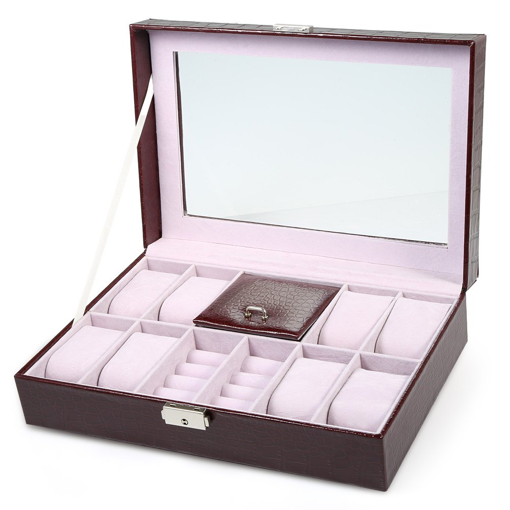 2017 High Quality Watch Box Case 8 Grids with 3 Mixed Grids Watch Case PVC Leather Jewelry Storage Display Box Excellent Gifts