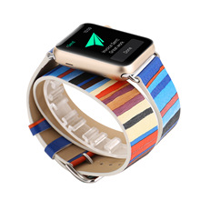 New Original Design Stripe Color Double Bracelet Strap for Apple Watch Band 42mm 38mm Watchband Genuine Leather for Iwatch 2 1