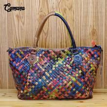 цена на CGmana 100% Genuine Leather Women Handbag 2018 Fashion Colored Sheepskin Weave Handbags Shoulder Messenger Bag Casual Tote Bag