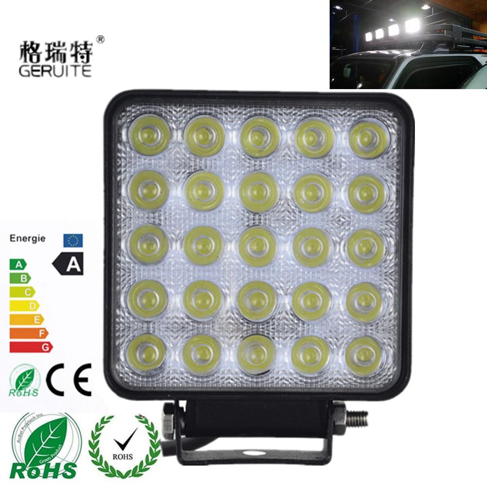 Prix pour 2 pcs 75 W LED Feux De Voiture Forme Carrée Blanc Froid LED Travail lumières Spot Faisceau 25 LEDS Offboard Bateau De Voiture Lumières 12-24 V En Gros