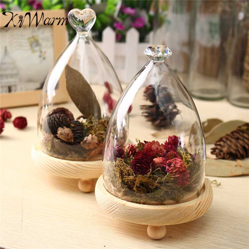 Wooden Base Home Garden Decor Clear Glass Flower Display Cloche Bell Jar Dome