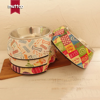 Pet Food Water Detachable Dual Antiskid Melamine Stainless Steel Pretty Printing Dog Bowl