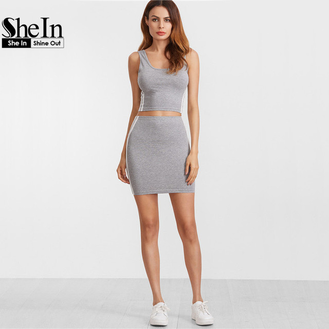 SheIn Women Two Piece Outfits Crop Top and Skirt Set Heather Grey Double Scoop Neck Side Striped Tank Top With Skirt