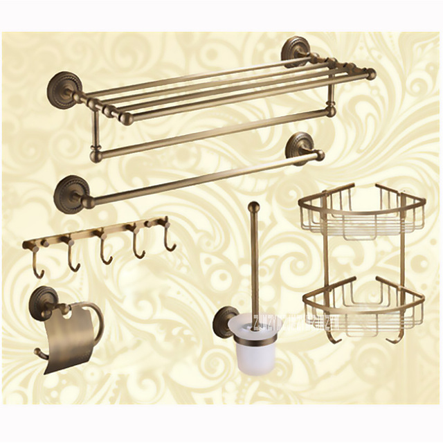 Luxury Brass Bathroom Hardware 6 Combination Discount Package Towel Holder Paper Shelf Hook Brush Bathroom Accessories AST3280