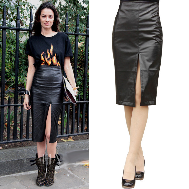 leather skirt long Sexy