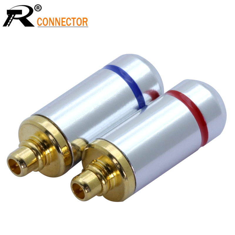 2pcs Audio Jack MMCX Black/Silver Earphone Pin Plug For Shure ED5 SE535 Gold Plated Connector