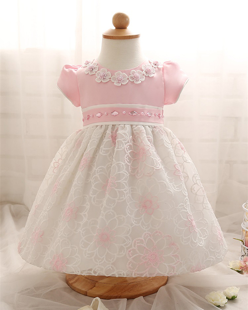 New Arrival Formal Newborn Dresses Tutu Summer Floral Pattern 1 Year Birthday Toddler Party Dresses Baptism For Newborn Infant