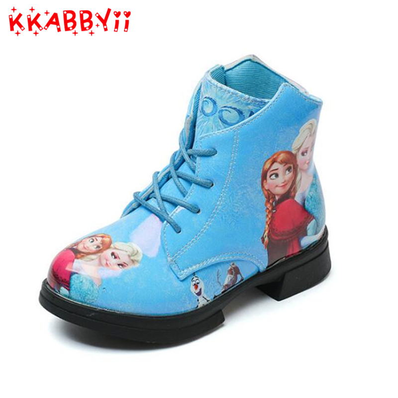 Autumn Winter Kids Baby Girls Snow Queen Pu Leather Boots Casual Shoes Fashion Sneakers Boots For Girls School EU 26-36