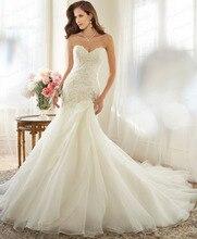 Vestido De Novia Vintage Fishtail Sweetheeart Neckline Corset Back Sweep Train Ivory Organza Wedding Dress With Appliques Y11563