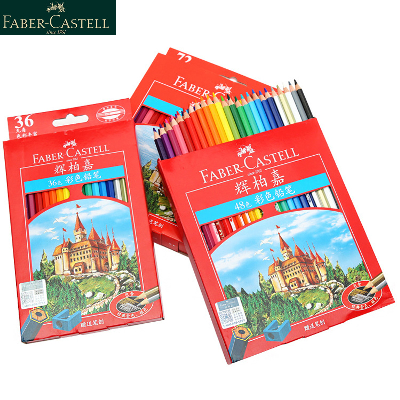 Faber Castell 36 48 72 Colors Color Pencil Profession Drawing Pastel Pencils Student School Stationery Aquarelpotloden Crayon 48 color children drawing pencil stationery kit