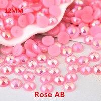 Free Shipping Many colors 1000pcs/lot 12mm Half Round Flatback Pearls Jewelry Garment Beads DIY Craft