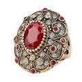 Мода Старинные Ювелирные Изделия Кольца Уникальный Позолоченный Древний Золотой Мозаика ААА Кристалл Большое Овальное Кольцо Для Женщин 2016 Новый Anillo