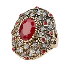 Fashion Vintage Jewelry Rings Unique Plated Ancient Gold Mosaic AAA Crystal Big Oval Ring For Women 2016 New Anillo