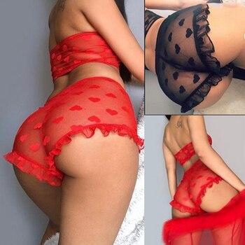 цена на 2019 New Mesh Sheer Bra Set Underwear Women Sexy Lingerie Underwear Ruffle Lingerie Lace Mesh Sleepwear Nightwear Bra Briefs Set