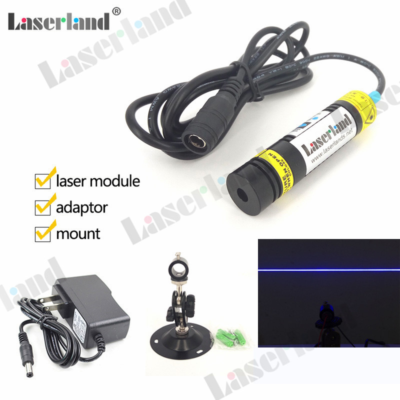 16*68mm 445nm 450nm 80mW Laser Line Generator Line Laser Module Lighting Effects Focusable Glass Lens Osram LD in Adapter Mount