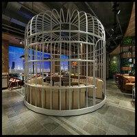 European decorative wrought iron bird cage outdoor restaurant giant floor decoration large bird cage wedding hotel big bird cage