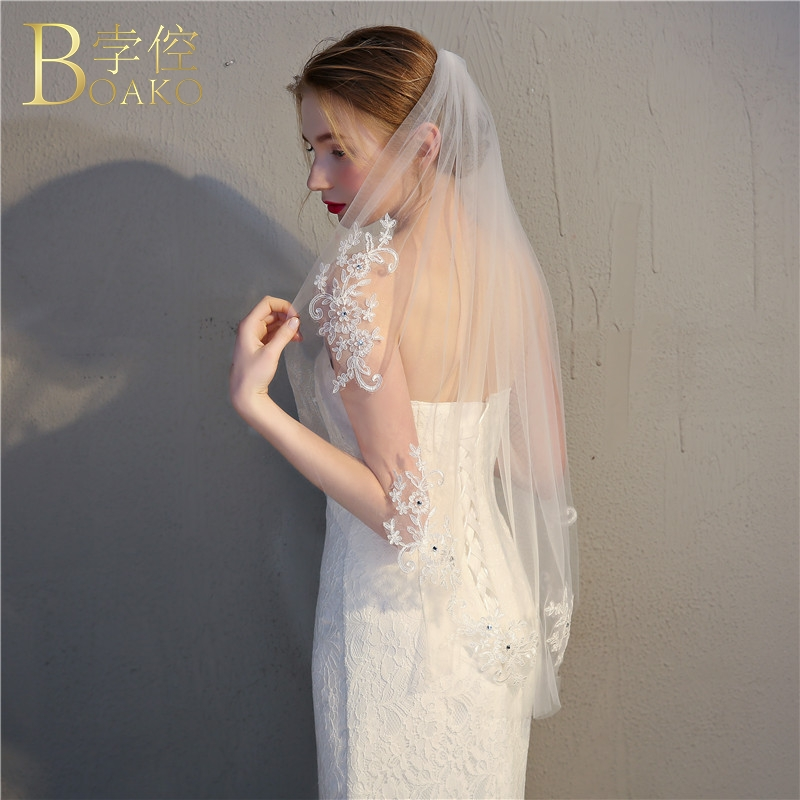 BOAKO Sequined Bridal Veils Wedding Accessories Lace Bridal Veil With Comb Ivory One Layer Wedding Veil Short Hairwear Veil K5