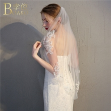 BOAKO Sequined Bridal Veils Wedding Accessories Lace Veil With Comb Ivory One Layer Short Hairwear K5