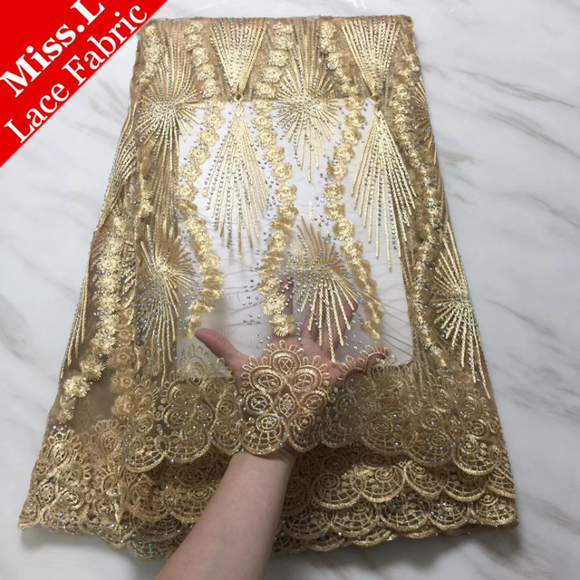 Gold African Lace Fabrics 2018 French Net Lace Embroidered With Stones 5 Yards/pcs Nigerian Tulle Lace For Party/Wedding