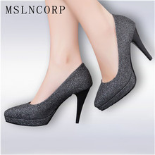 Size 34-43 Ladies Sexy Fashion Platform Pumps Shinning Glitter Upper Pointed Toe Elegance Women High heels Wedding Party Shoes big size sale 34 46 apricot new fashion sexy pointed toe women pumps platform pumps high heels ladies wedding party shoes 116