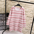 2016 Autumn Women Knitting Tops Casual Plus Size 3XL 4XL O-neck Loose Striped Long T-shirts KK1878