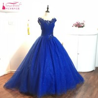 Royal Blue Ball Gown Prom Dresses 2018 Lace Appliques Short Sleeves Illusion Back Sexy Sequins Formal Lady Evening Gowns DQG022