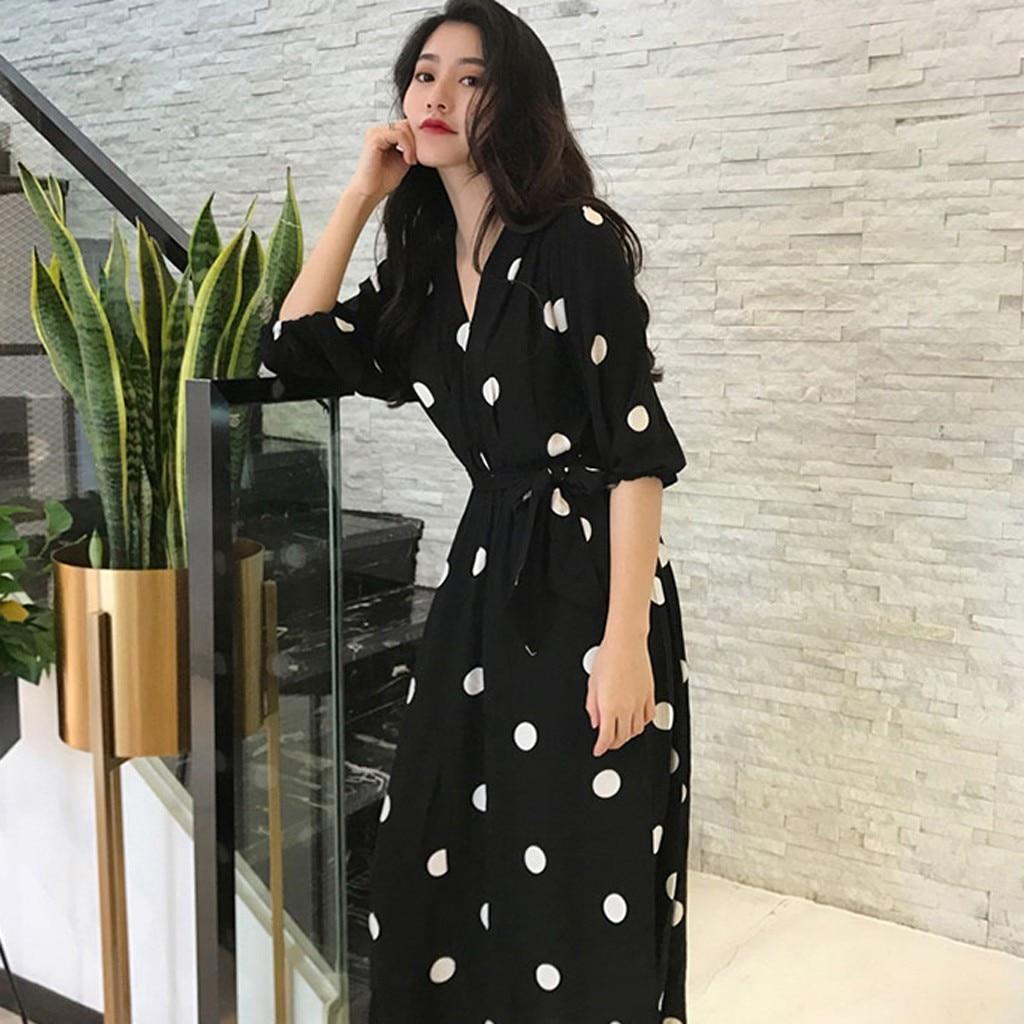 Women Fashion Bandage Dot V Neck Knee Length Short Sleeve Wave Point Dress Fit and Flare