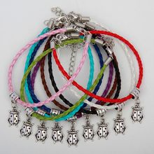 Hot Sell 50pcs Vintage Silver Ladybug Charms Pendants Mixed Color Braided Rope Bracelets Fashion Jewelry DIY For Women&Men S959