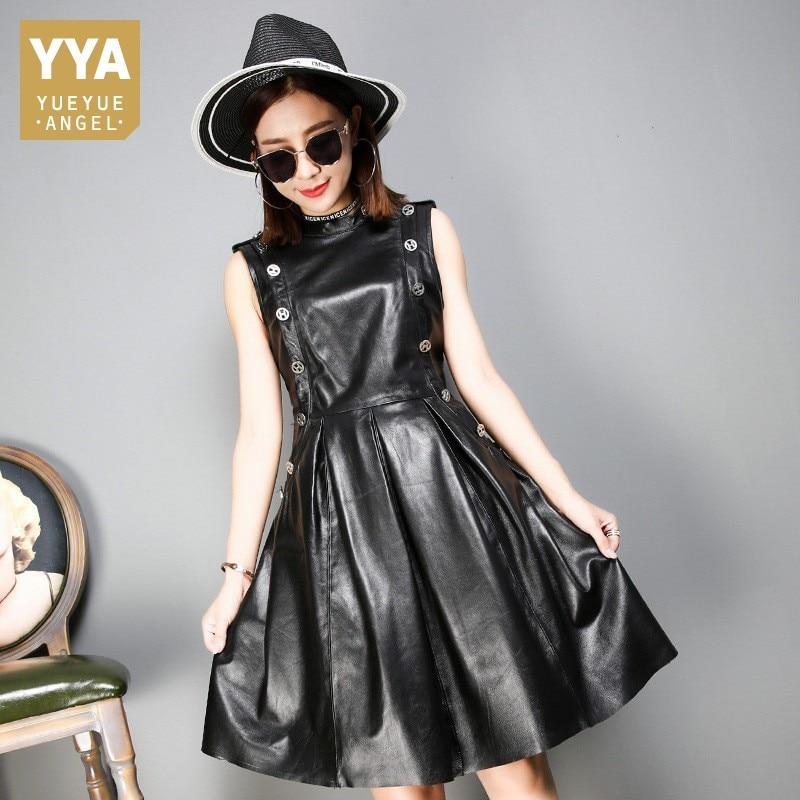 Marque Sexy en cuir véritable robe noir court noir sans manches parti en cuir robe Slim automne robes de haute qualité femmes vêtements