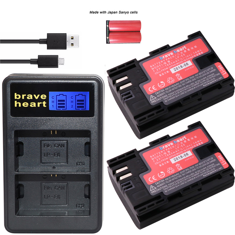 2 Stück Lp-e6 Lp E6 Lp-e6n Batterie Japan Sanyo Zellen Batterien Led Dual Usb Ladegerät Für Canon Eos 6d 7d 5ds 5dsr 5d Mark Ii 5d 60d 60da 70d 80d