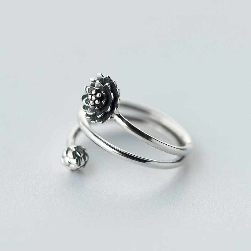 Винтаж реально. твердые стерлингового серебра 925 Fine Jewelry 3-строк/Многослойные Цветок лотоса и пузырька кольцо Намасте Йога j911-
