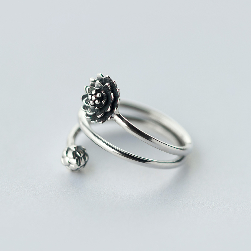 Vintage REAL.Solid 925 Sterling Silver Fine jewelry 3-rows/ Multi-layers Lotus Flower &Bub Ring Namaste Yoga J911-