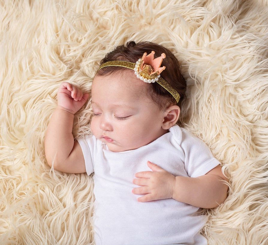 Yundfly Baby Newborn Glitter Gold Silver Tiara Headband Elastic Pearl Crown Headbands Kids Girls Head Accessories Photo Prop